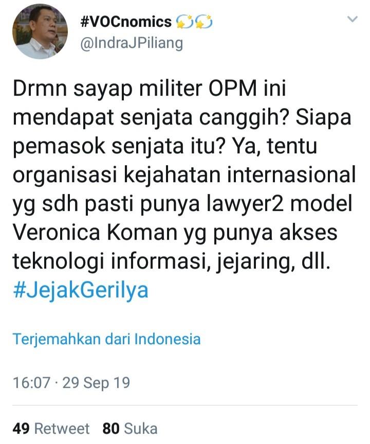 Indra J Piliang Ungkap Pemasok Senjata untuk OPM