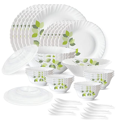 Larah by Borosil Green Leaves Silk Series Opalware Dinner Set for Occessional and Everyday use too