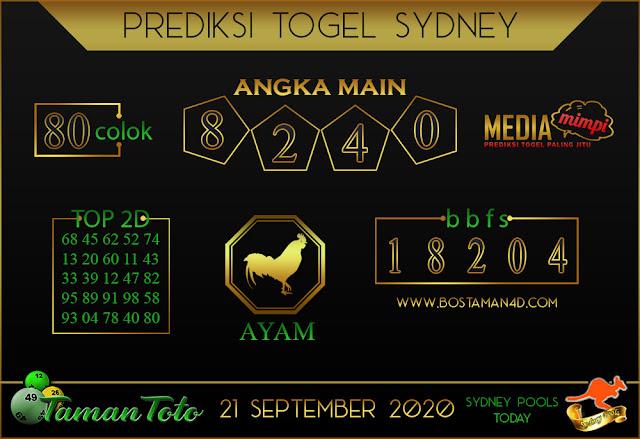Prediksi Togel SYDNEY TAMAN TOTO 21 SEPTEMBER 2020