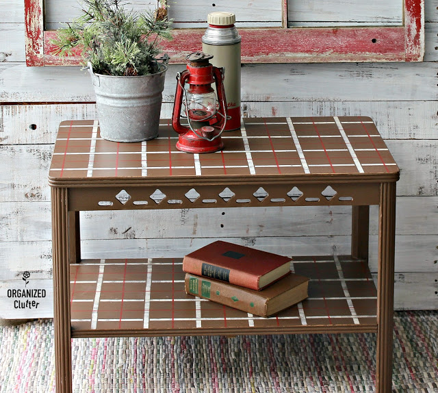 Photo of vintage table stenciled with a plaid stencil