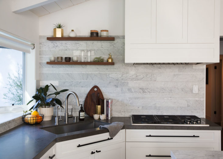 Modern minimal white marble kitchen in Brendon Urie's home