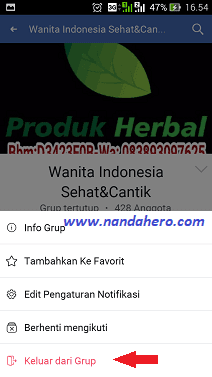 cara keluar grup facebook lewat hp android iphone