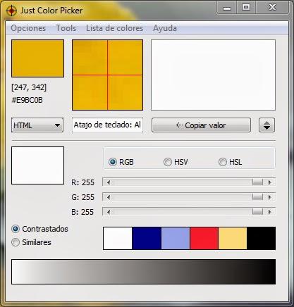 Just Color Picker 5.0 + Portable | Averigua el color exacto de cualquier rincón de tu pantalla