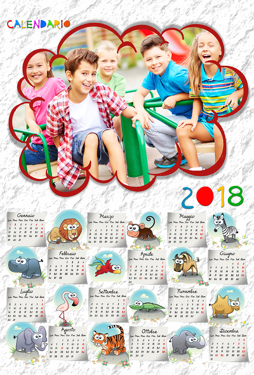 Connu risorse per photoshop: Calendari 2018 GG41