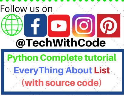 List in python programming | Complete Python Tutorial |TechWithCode.com