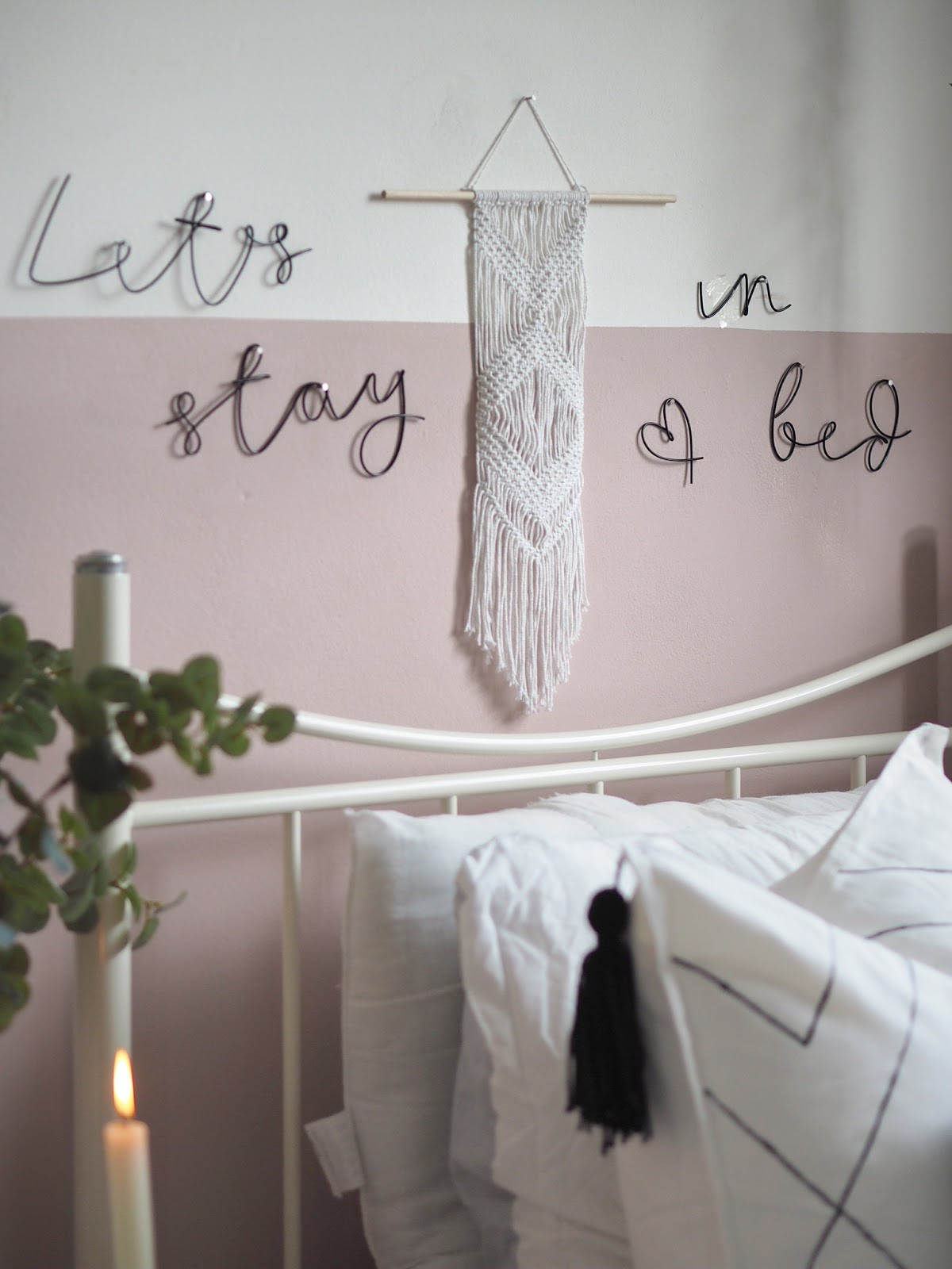 How to transform a room with half-painted walls. DIY room update. How to use frog tape to section off a wall and paint a feature. Boho bedroom transformation.