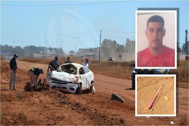 URGENTE: Homem rouba táxi em Mato Grosso e morre após capotar o carro na BR em Rondônia