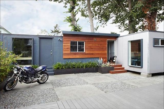 exterior Casa com escritório containers