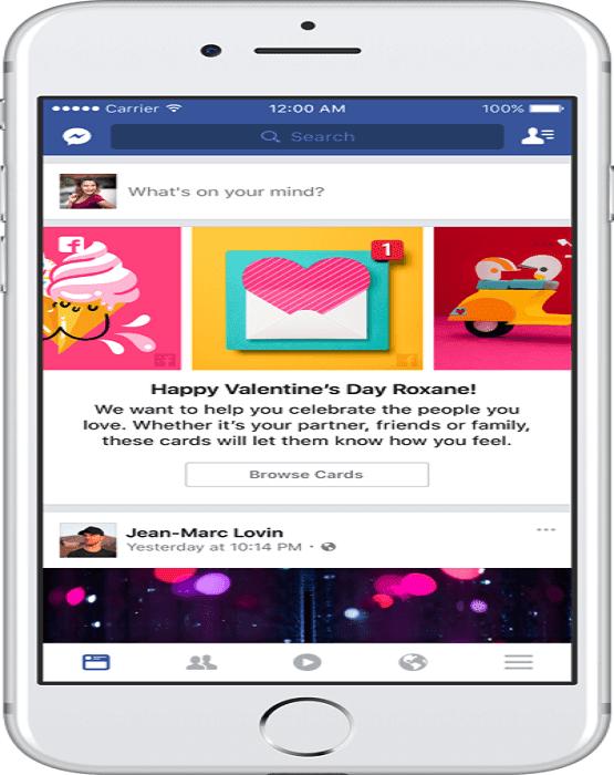 فيس بوك يحتقل بعيد الفالنتاين و يطلق بطاقات معايدة