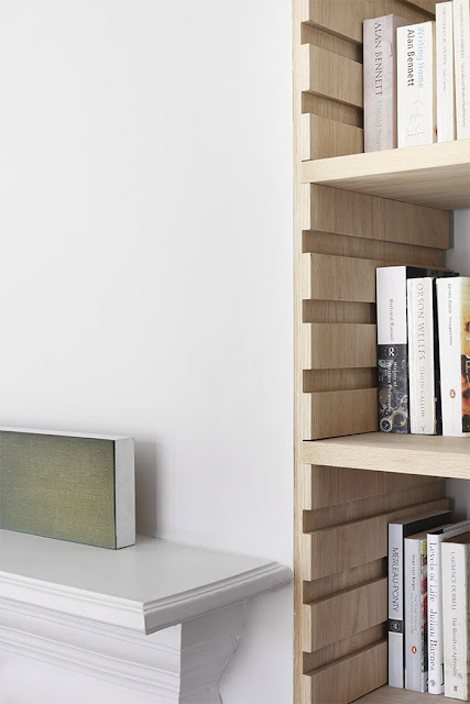 Clever bookshelf design from London Woodland, by William Smalley Architect.