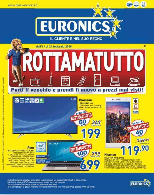 Volantino Euronics Dimo - Febbraio 2016 - Ultimo - Nuovo - Data 11-24 febbraio