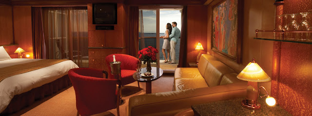 Luxury cruise line balcony state room suite