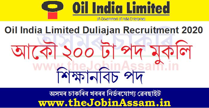 Oil India Apprentice Recruitment 2020: