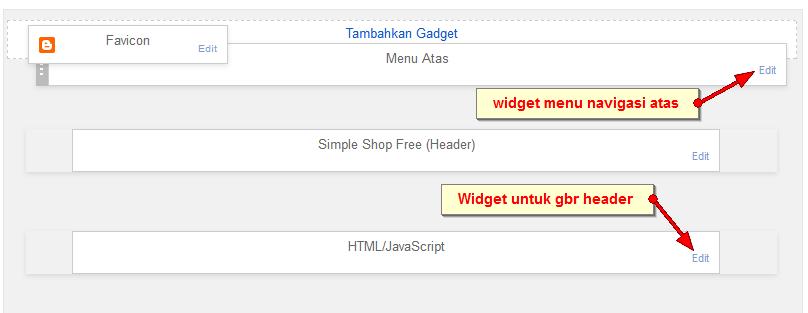 edit widget navigasi atas