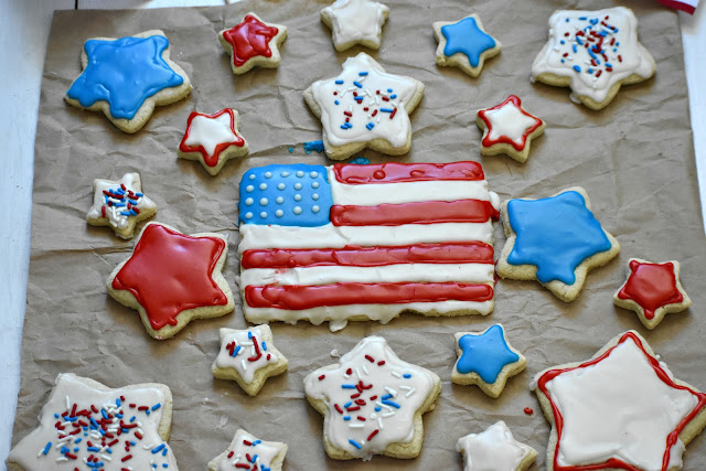 red white and blue cookies laid out
