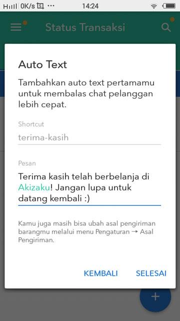 """Cara Mengatur Pengaturan di Aplikasi Selly - Ini contoh Auto Text dan klik """"Selesai""""."""