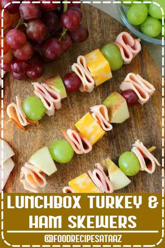 4.7 ★★★★★   Looking for a new to school lunch idea? These fun and easy Lunchbox Turkey & Ham Skewers will have your kids jumping for joy at lunch time! Loaded with sliced turkey, ham, fruit and cheese, these will be your kids new lunchbox favorite! #HealthySnacks #ForTeens #Easy