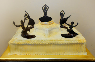 Dancing Stage Cake Made For The Natyalaya Dance School 30th Anniversary Gumpaste Silhouettes Edible Gold And Paint