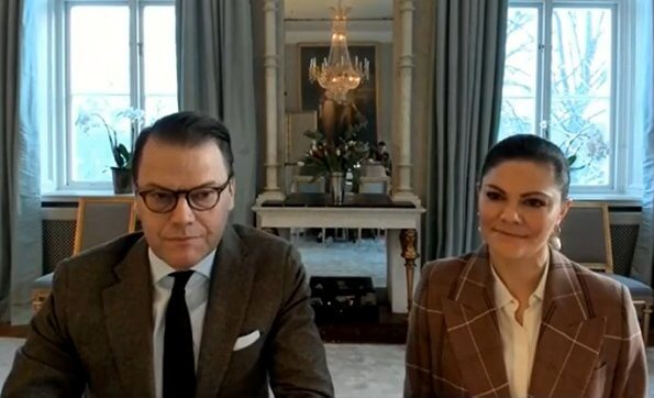 Crown Princess Victoria wore wool and cotton blend suit from Acne Studios, and baroque pearl earrings from Cravingfor Jewellery