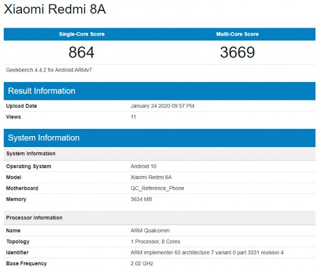 Geekbench'te Android 10'u çalıştıran Xiaomi Redmi 8A