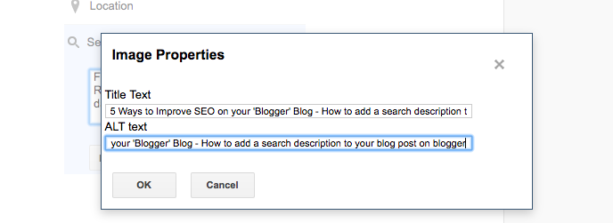 5 Ways to Improve SEO on your 'Blogger' Blog including hints and tips  - how to alt tag images