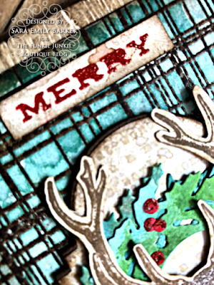 Sara Emily Barker https://sarascloset1.blogspot.com/2020/07/christmas-all-ready.html Rustic Christmas Card Tutorial #timholtz #yuletide #wreath&snowflake #lumberjack 7