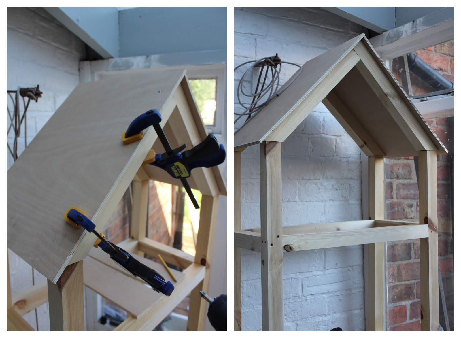 DIY House Shape with Plywood Roof