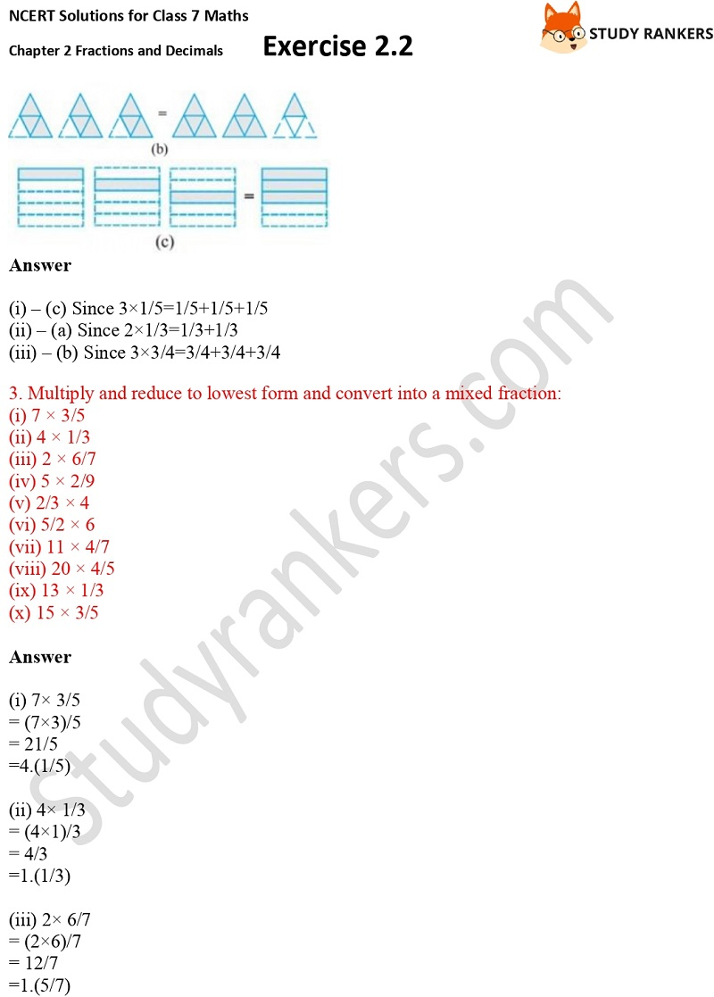 NCERT Solutions for Class 7 Maths Ch 2 Fractions and Decimals Exercise 2.2 2