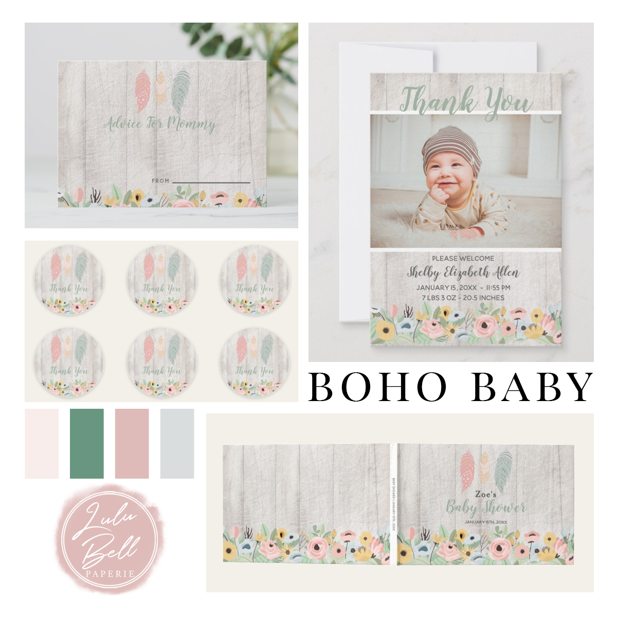Coordinating Collection of Boho Baby Nursery Decor, Shower Invitations Party Suite, and Paint Color Palettes for Your Baby Girl. With Feathers, Deer, Flowers, Wood, and Birds. In Pink, Blush, Green, and Pale Gray.Coordinating Collection of Boho Baby Nursery Decor, Shower Invitations Party Suite, and Paint Color Palettes for Your Baby Girl. With Feathers, Deer, Flowers, Wood, and Birds. In Pink, Blush, Green, and Pale Gray.