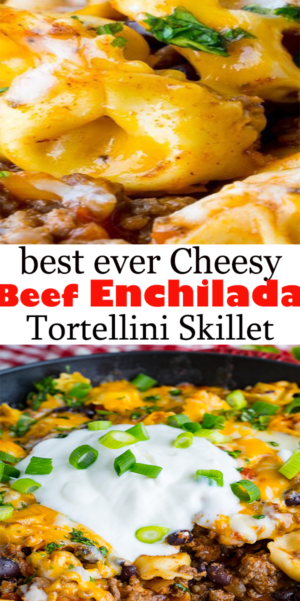 A quick, easy and tasty beef enchilada skillet covered in melted cheese! This skillet dish makes for the perfect weeknight meal that everyone will enjoy! #beef #beefrecipe #enchilada #dinner