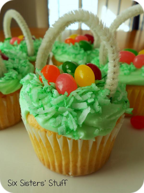 Easter Egg Basket Cupcakes   Six Sisters' Stuff
