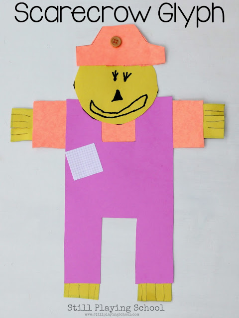 Have you ever made a math glyph with kids? Kids represent data about themselves in their craft. This scarecrow glyph is perfect for fall!