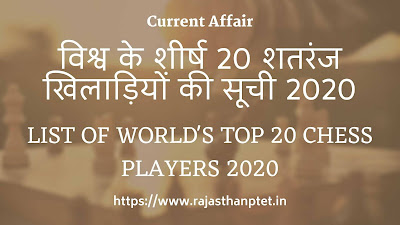 List of world's top 20 chess players 2020
