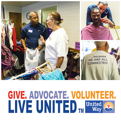 Montage of images from a past Project Connect event.  Volunteers working and someone getting a haircut. United Way logo.  Live United