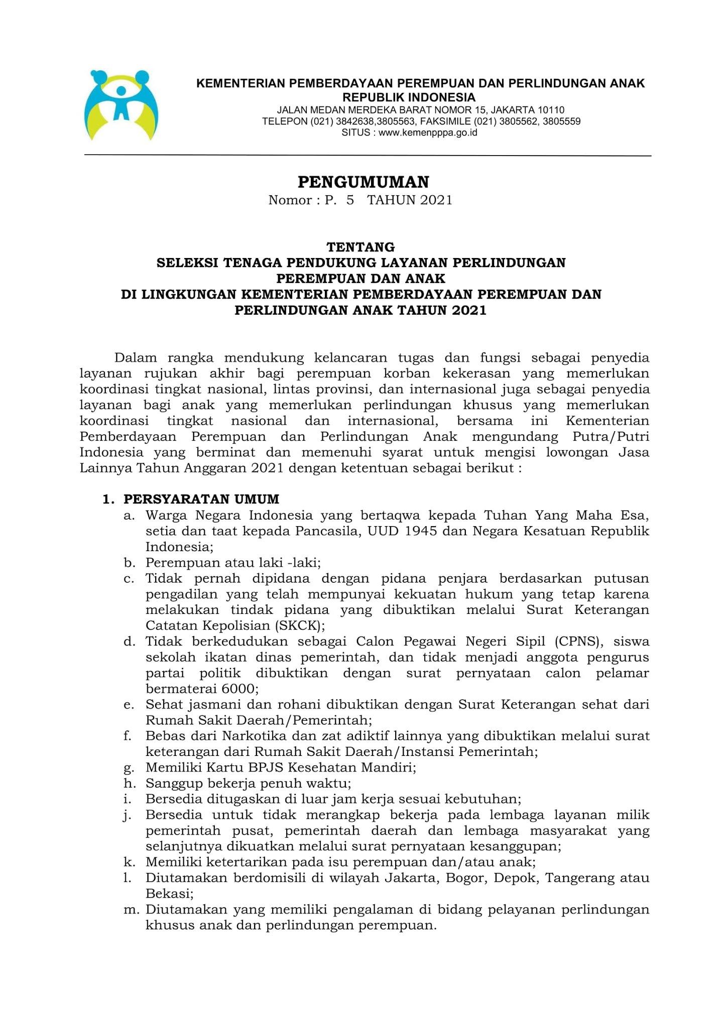 Lowongan Kerja Tenaga Kementerian Pemberdayaan Perempuan dan Perlindungan Anak (KPPA) Tahun 2021