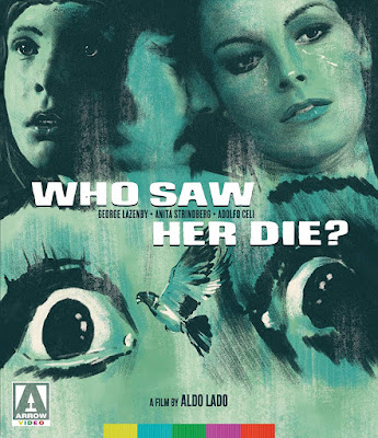 Blu-ray Cover for Arrow Video's WHO SAW HER DIE? directed by Aldo Lado and starring George Lazenby.