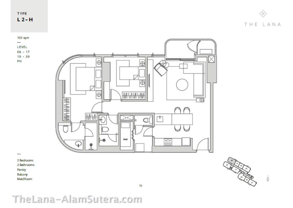 Type L2-H Apartemeh The LANA Alam Sutera