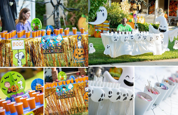 Halloween Trick-or-Treat Driveway Tables