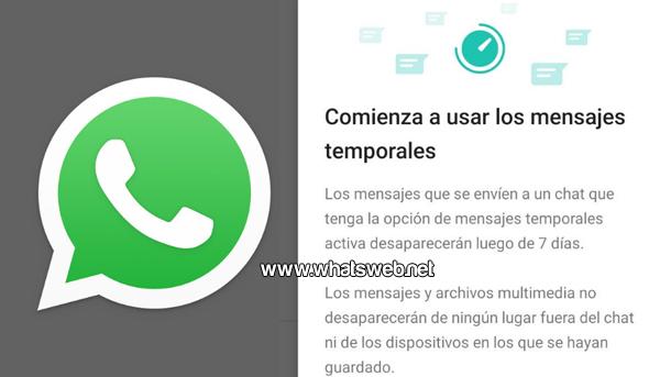 Como activar los mensajes temporales en WhatsApp