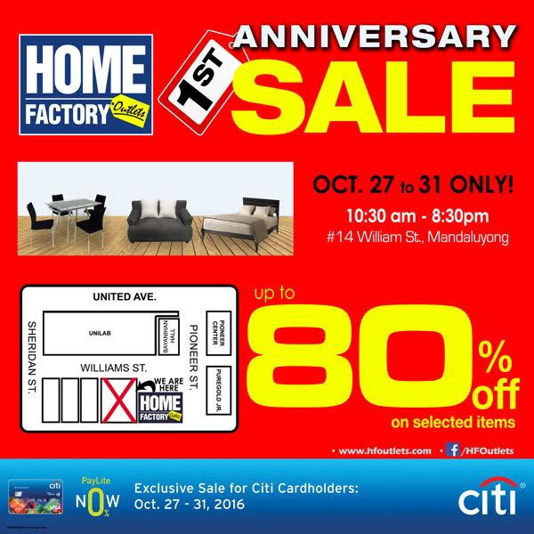 The Home Factory Outlets 1st Anniversary SALE!!!