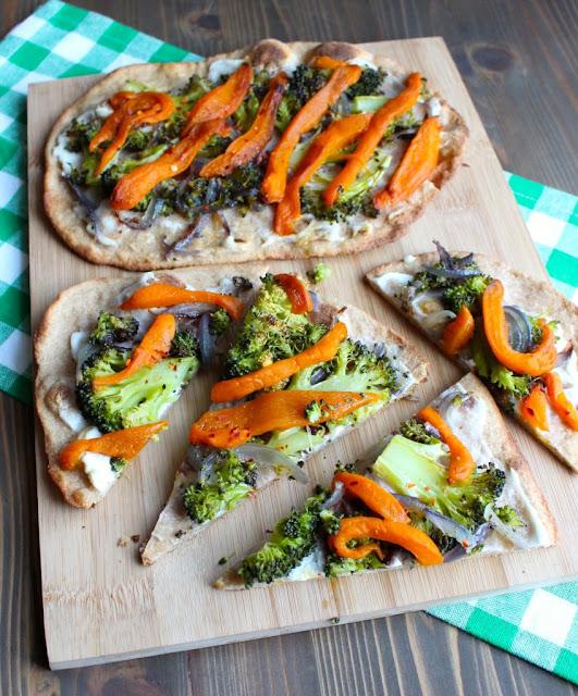 Crispy Roasted Vegetabele Flatbread Pizza