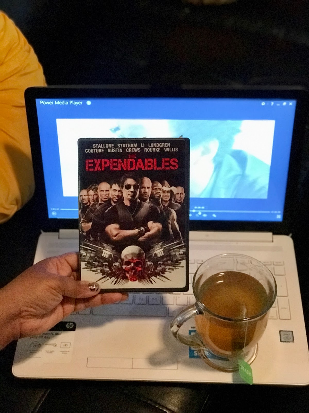 Image: Tangie Bell getting ready to watch Expendables. Morning Babbles