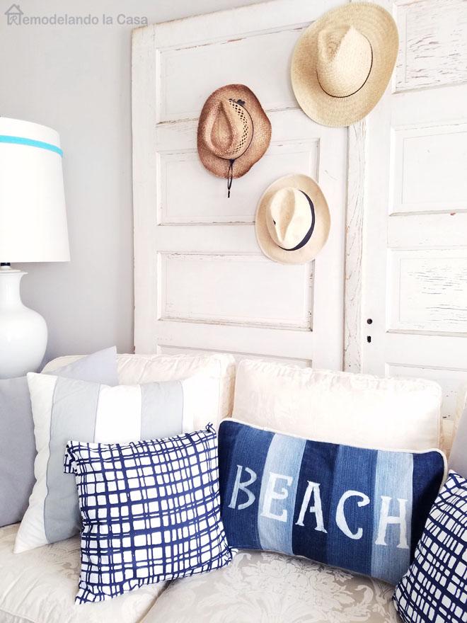 Summer hats gallery on vintage doors