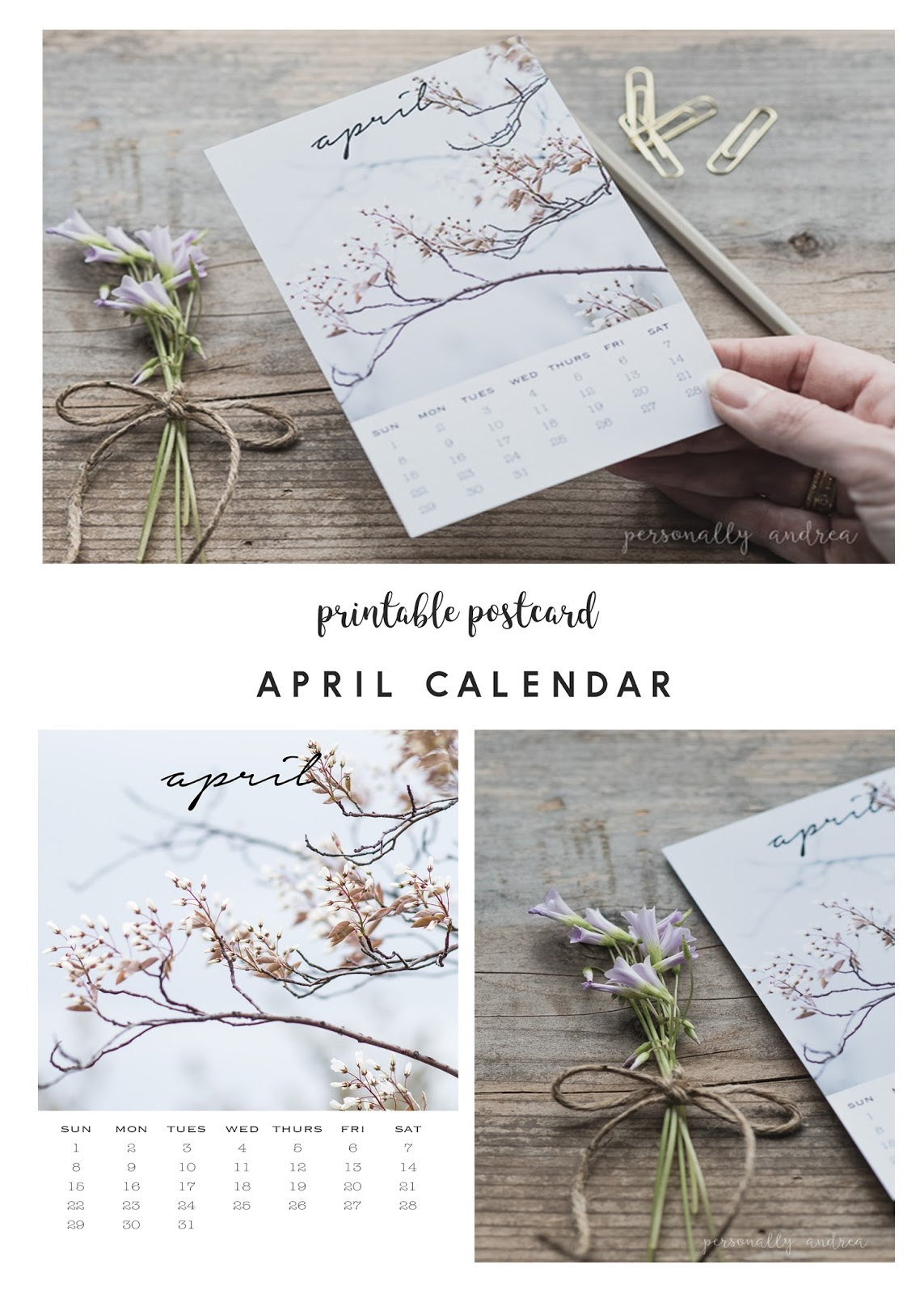 A printable download of a 4 x 6 photo calendar postcard for April | personallyandrea.com
