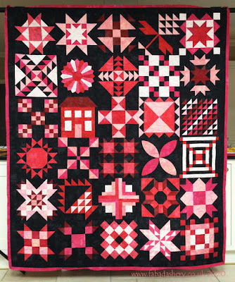 Shona's Grunge Stitch Pink Sampler Quilt, Breast Cancer Awareness