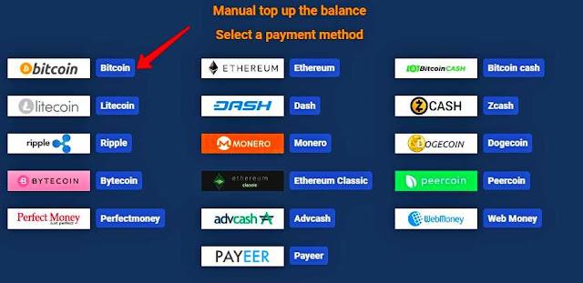 Выбор платежной системы для пополнения баланса