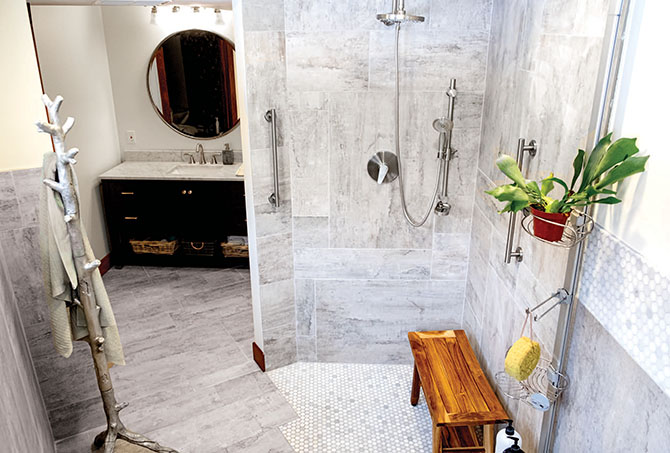 An age-friendly shower is one step to modifying your home to allow for independent aging.