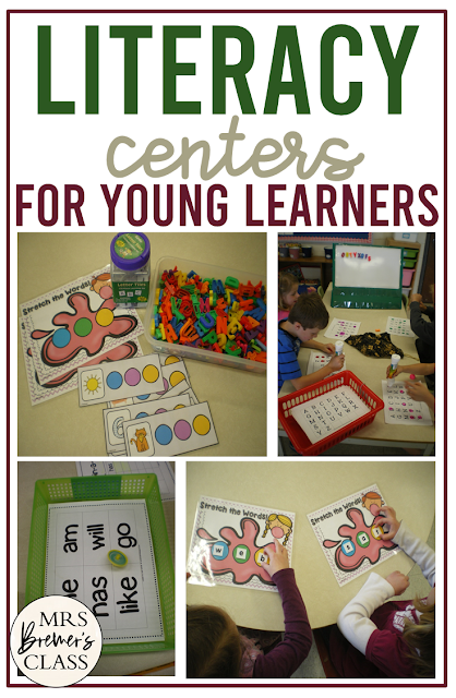 Literacy centers and word work activities for Kindergarten and First Grade