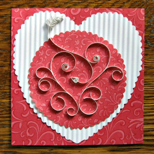 quilled scrolls heart card