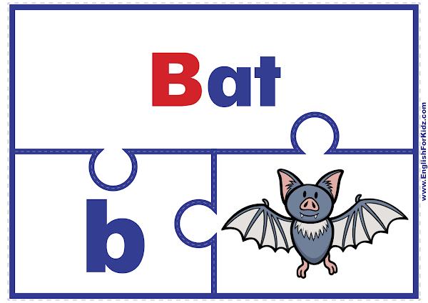 Alphabet activities - printable puzzle -letter B